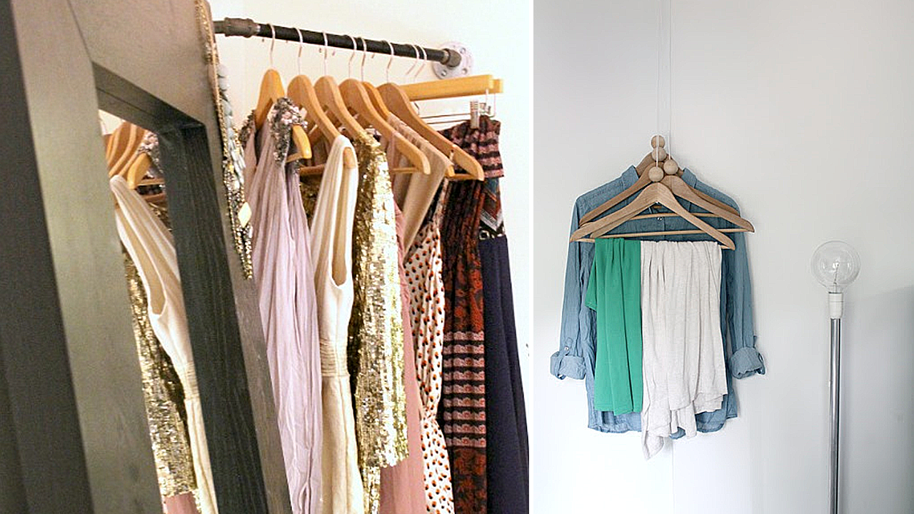 DIY Corner Closet and Coat Rack via simphome Featured