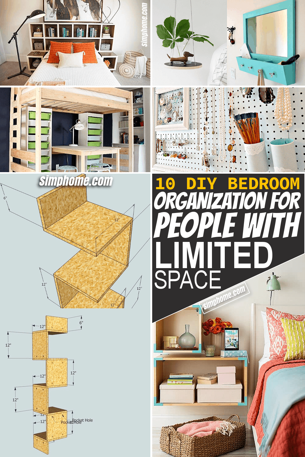 Simphome.com 10 Bedroom Organization DIY for People with Limited Floor Space Thumbnail Video