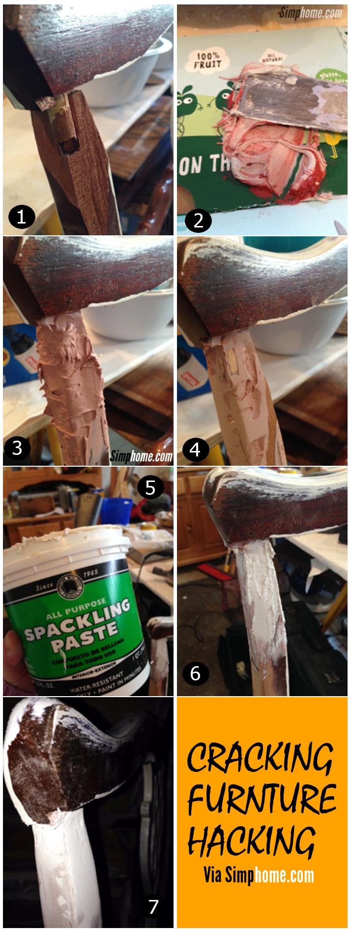 diy cracking furniture makeover via simphome