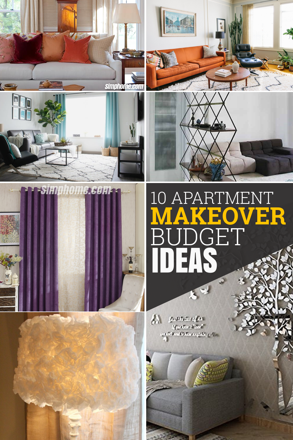10 Apartment Makeover Budget Ideas via Simphome com Featured Pinterest Image
