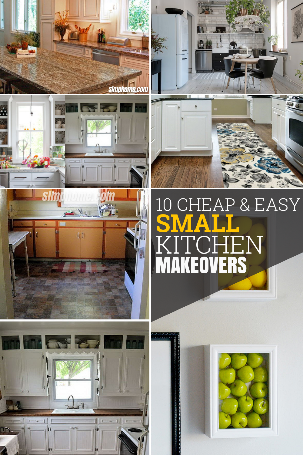 10 Cheap and Easy Small Kitchen Makeovers via Simphome com Featured Pinterest