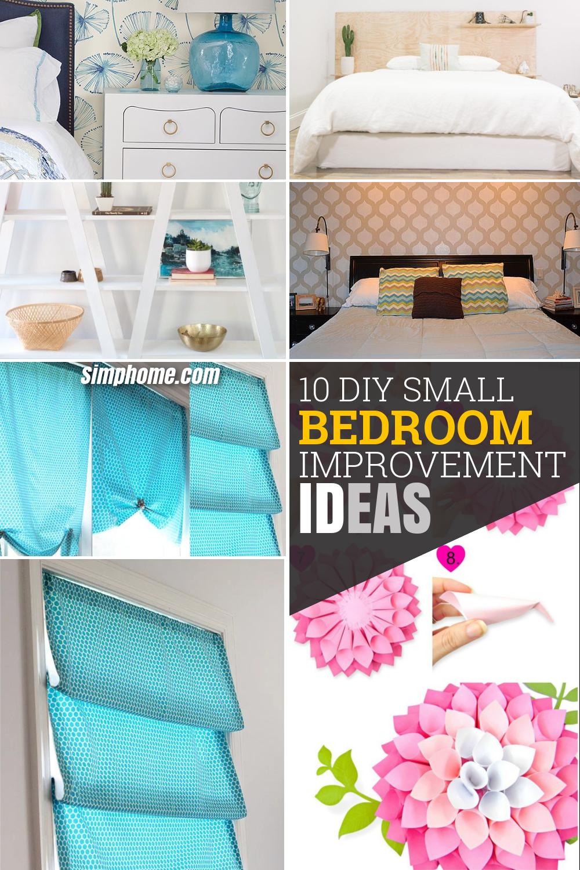 10 DIY Small Bedroom Improvement Ideas via Simphome pintrerest image