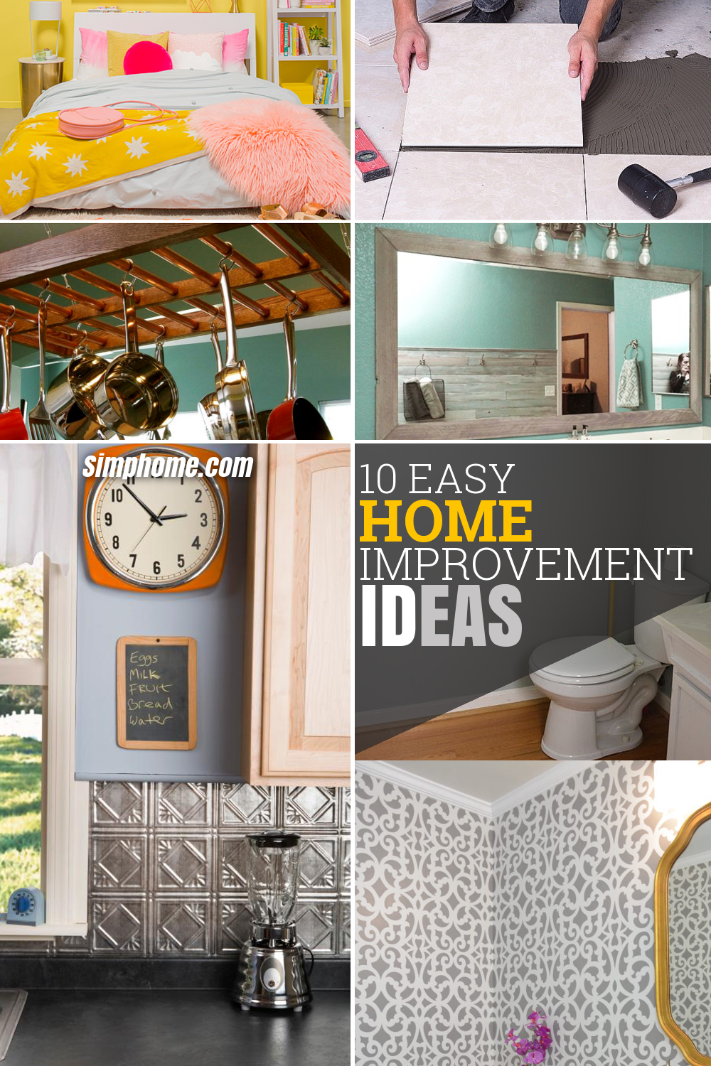 Easy Home Improvement Ideas Via Simphome com pinterest image long