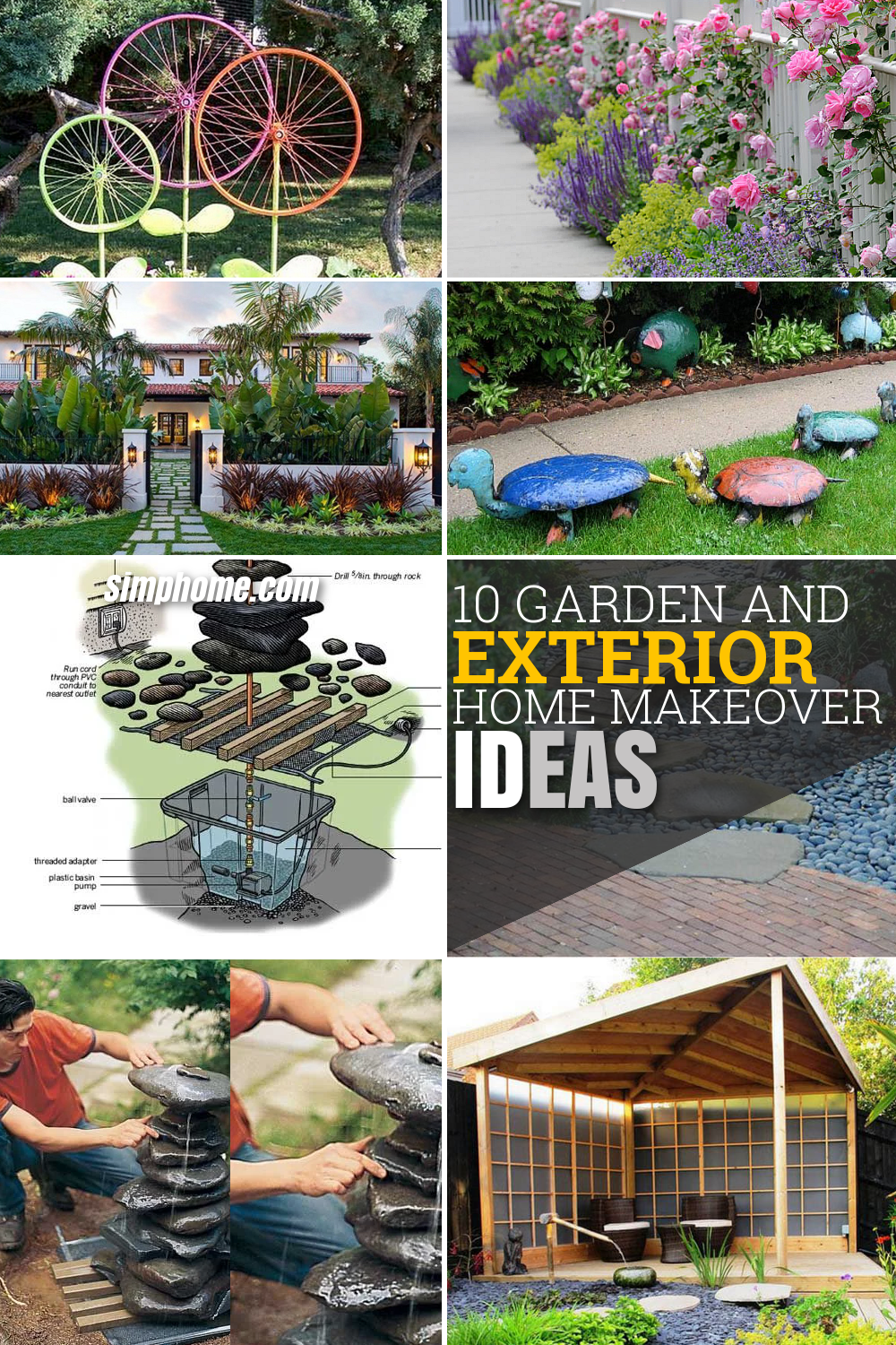 10 Garden and Exterior Home Makeover Ideas via simphome Long Pinterest image