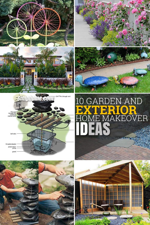 10 Garden and Exterior Home Makeover Ideas via simphome Long Pinterest image
