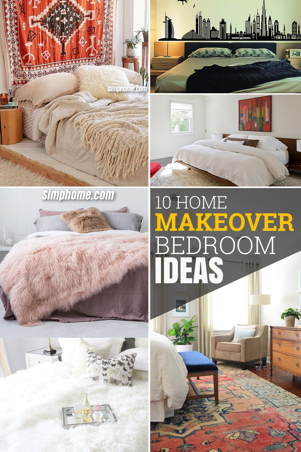 10 Home Makeover Bedroom Ideas via Simphome com Pintrerest Featured image
