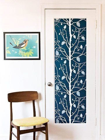 10 Add Accent to Your Bedroom Door with Wallpaper via simphome