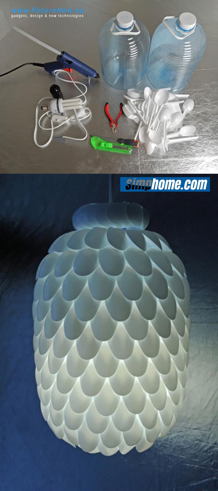 8 Make a Plastic Spoon Pendant Light via simphome