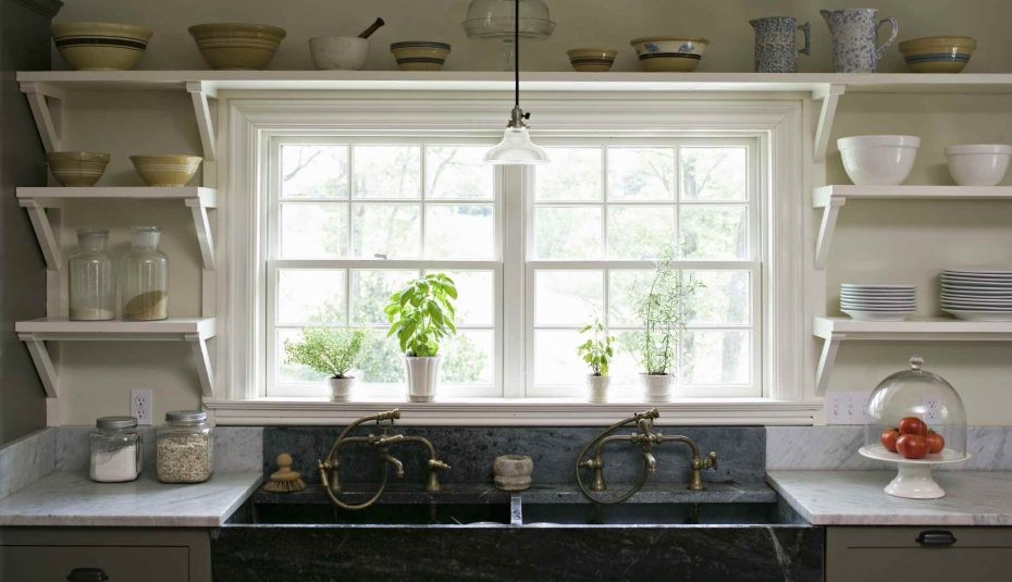 1 Floating kitchen shelving idea around the Window via Simphome