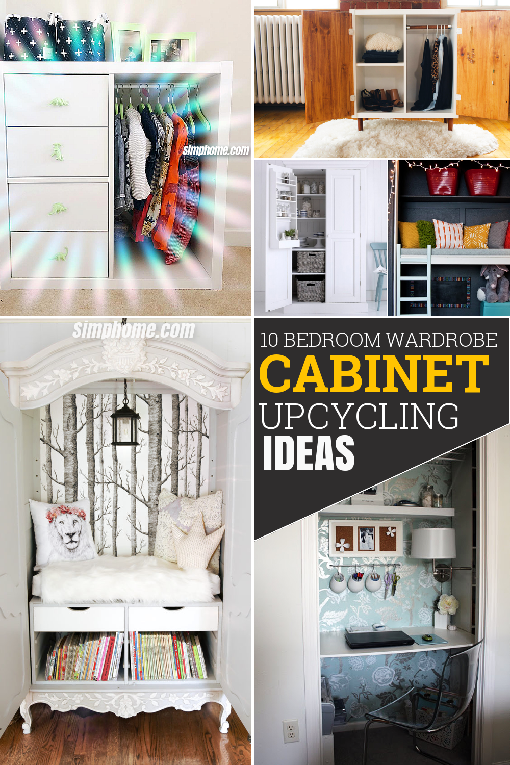10 Bedroom Wardrobe and Cabinet Upcycled ideas via Simphome Pinterest Featured Image