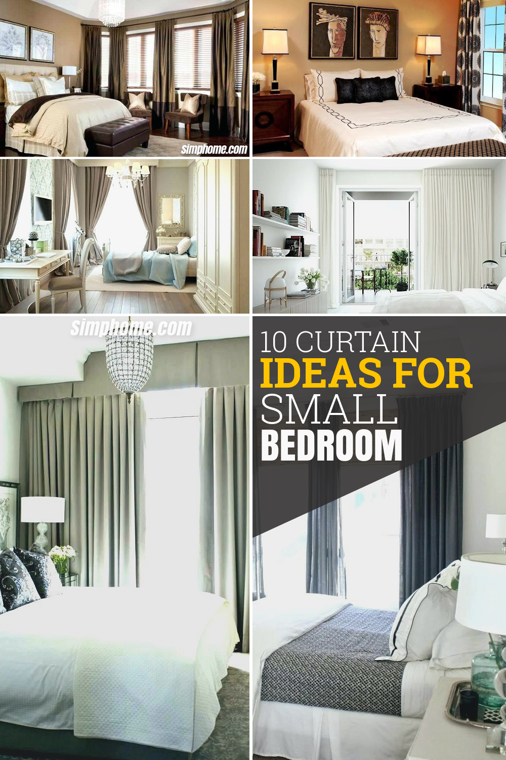 10 Curtain Ideas for Small Bedroom via Simphome com pintrerest image
