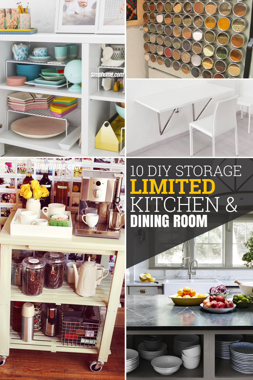 10 DIY Storage Ideas for Limited Kitchen and Dining Room via Simphome com Pinterest Featured