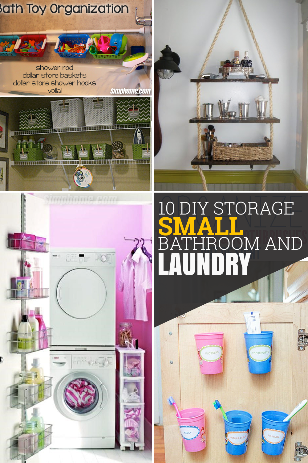 10 DIY Storage Ideas for Small Bathroom and Laundry via Simphome featured pinterest