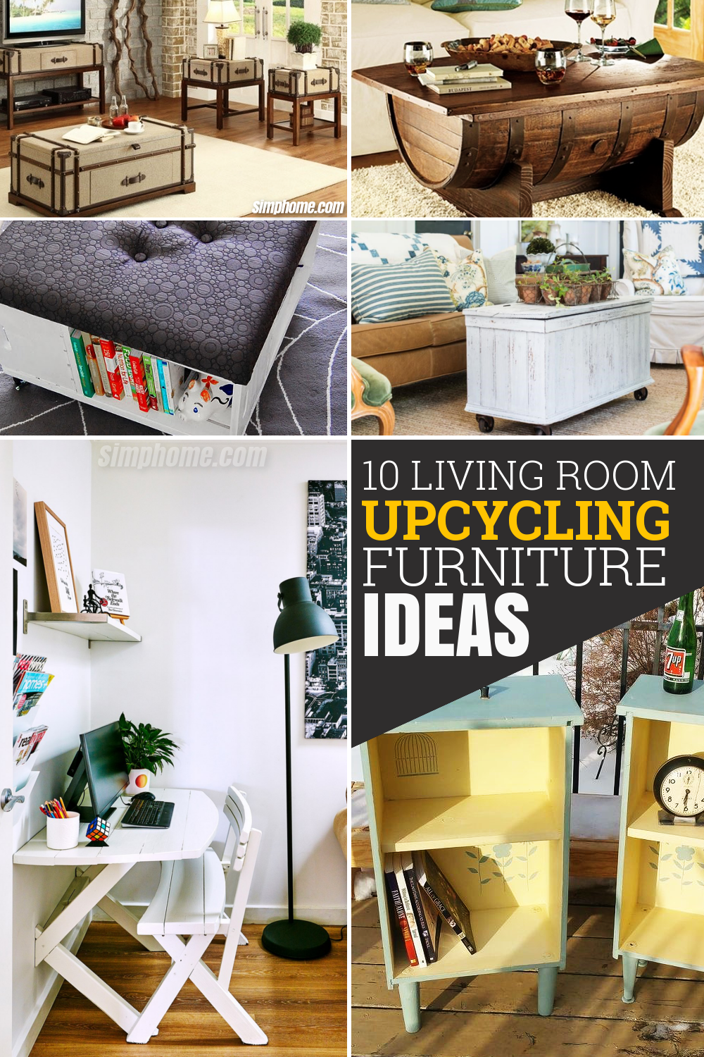 10 Living Room Upcycled Furniture Ideas via Simphome com Pinterest Featured Image