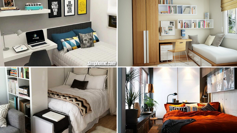 10 Small Bedroom Furniture Ideas via Simphome featured