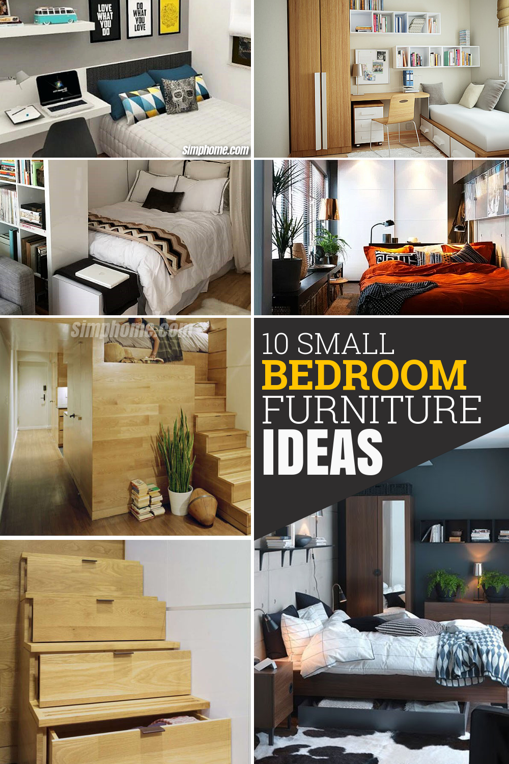 10 Small Bedroom Furniture Ideas via Simphome com Pinterest Featured