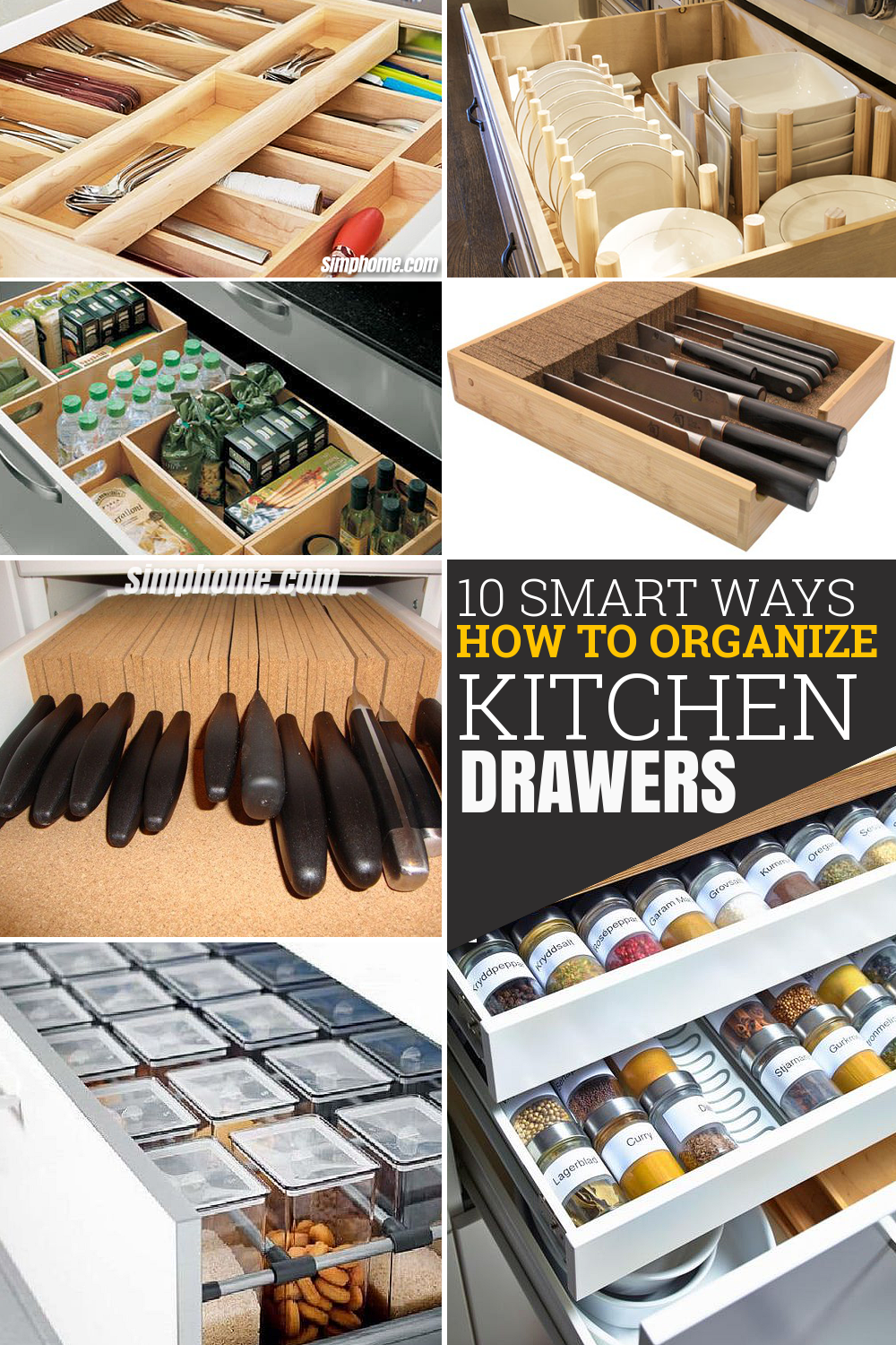 10 Smart ways How to Organize Kitchen Drawers via Simphome com Pinterest image