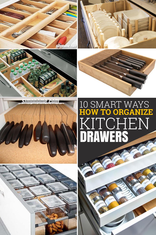 10 Smart ways How to Organize Kitchen Drawers via Simphome com Pinterest image