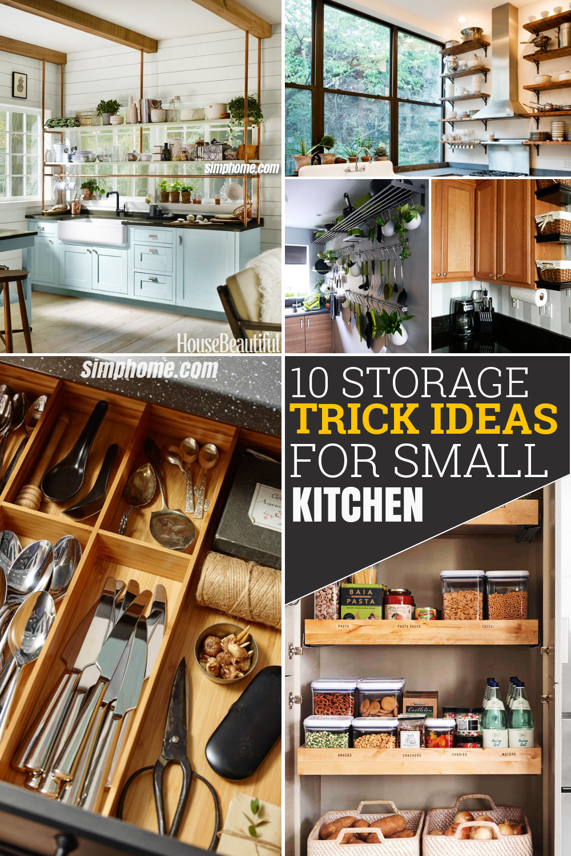 10 Storage Tricks Idea for Small Kitchen via Simphome Pinterest Featured Image