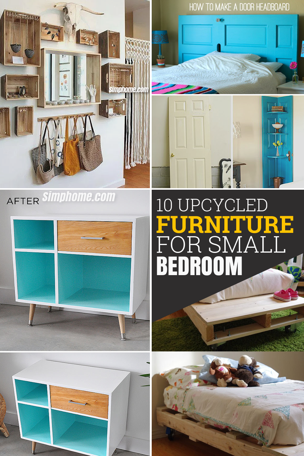 10 Upcycled Furniture Ideas for Small Bedroom via Simphome com Pinterest long image