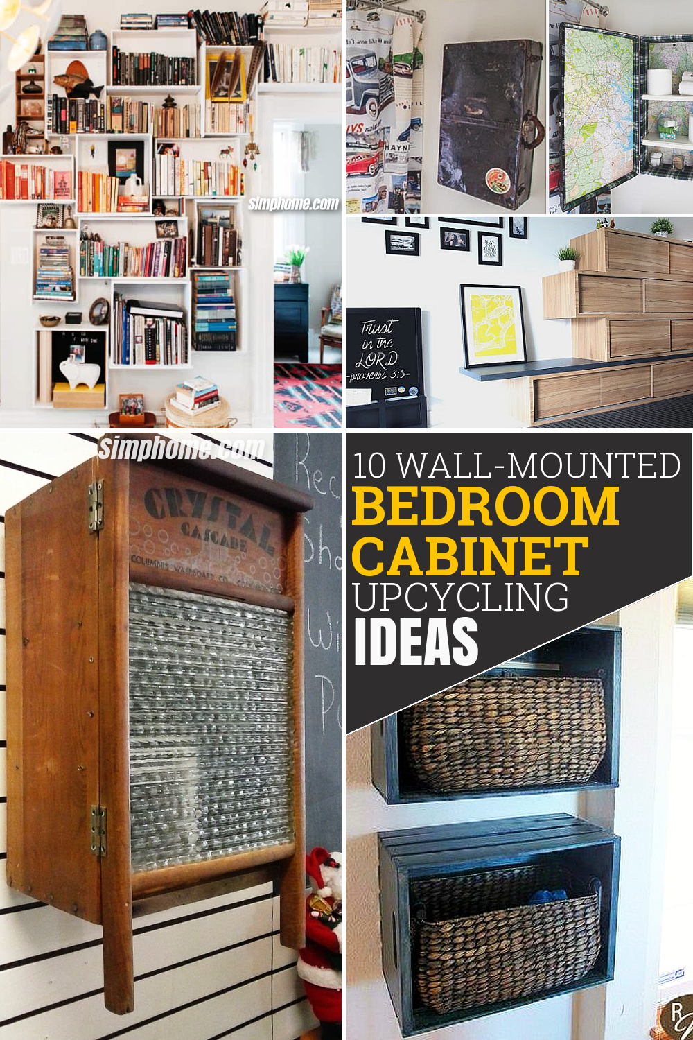 10 Wall Mounted Bedroom Cabinet Upcycling Ideas via Simphome com Pinterest featured Image