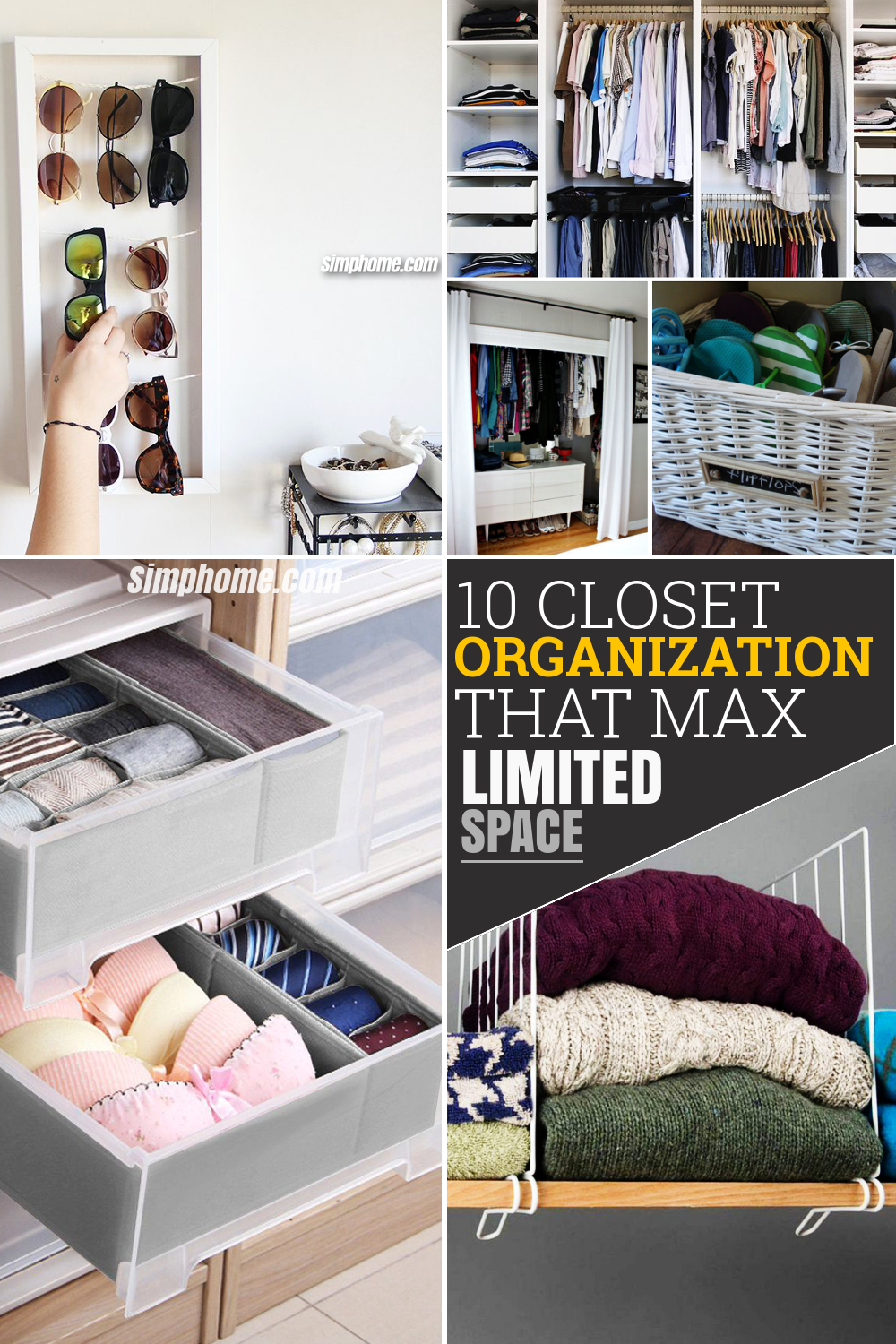 10 closet organization ideas that will maximize your available space via Simphome Pinterest Featured Image