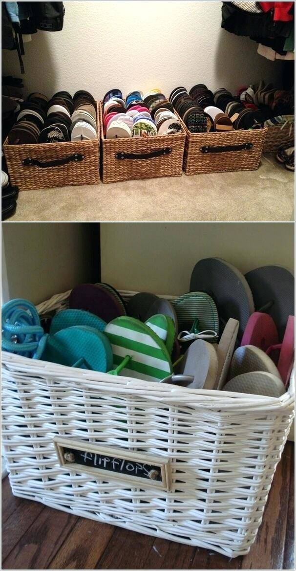 10 Organize Your Footwear with Wicker Baskets via Simphome 2