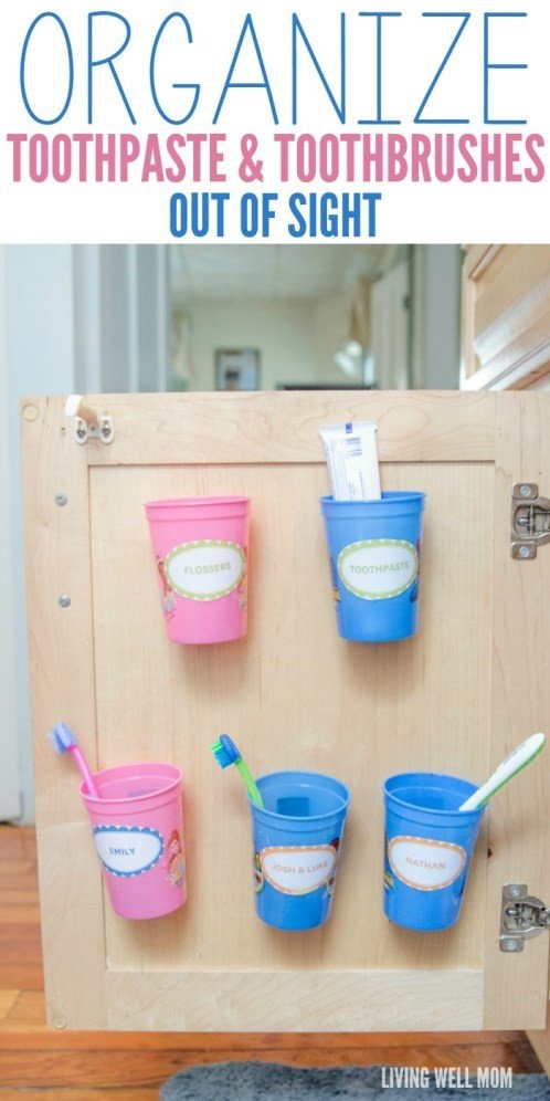 10 Toothbrushes and Toothpastes Organizer via Simphome