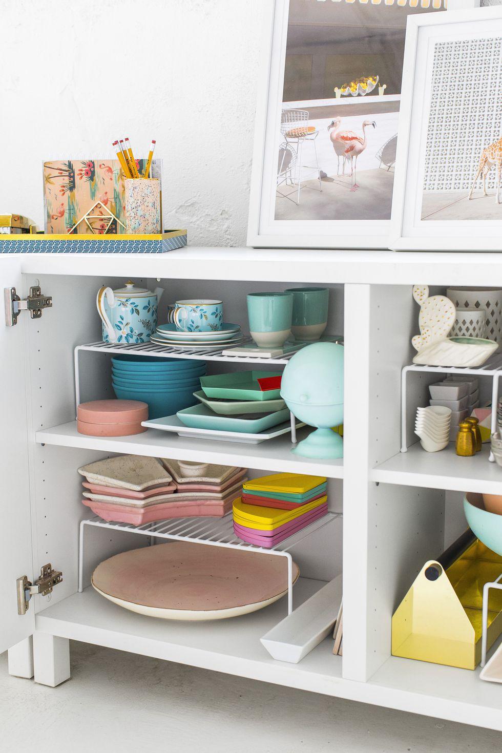 10 Use Wire Shelf Risers to Expand the Storage Space via Simphome