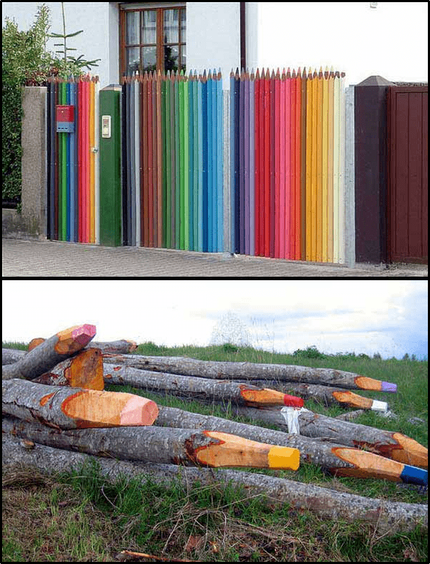 10. Colored Pencil Fence Idea by Simphome.com
