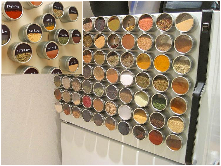 2 Use Your Fridge as Spice Rack via Simphome