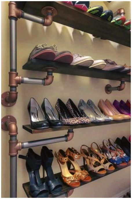 5 Wall Mounted Industrial Shoe Rack via Simphome