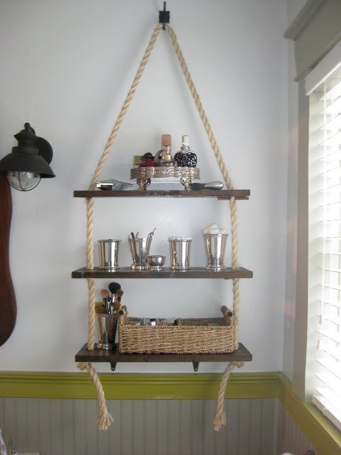 6 Rustic Bathroom Shelf via Simphome