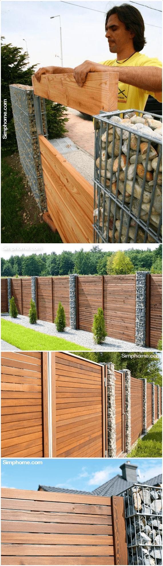 6.Wood Slats and Gabion Combo via Simphome.com
