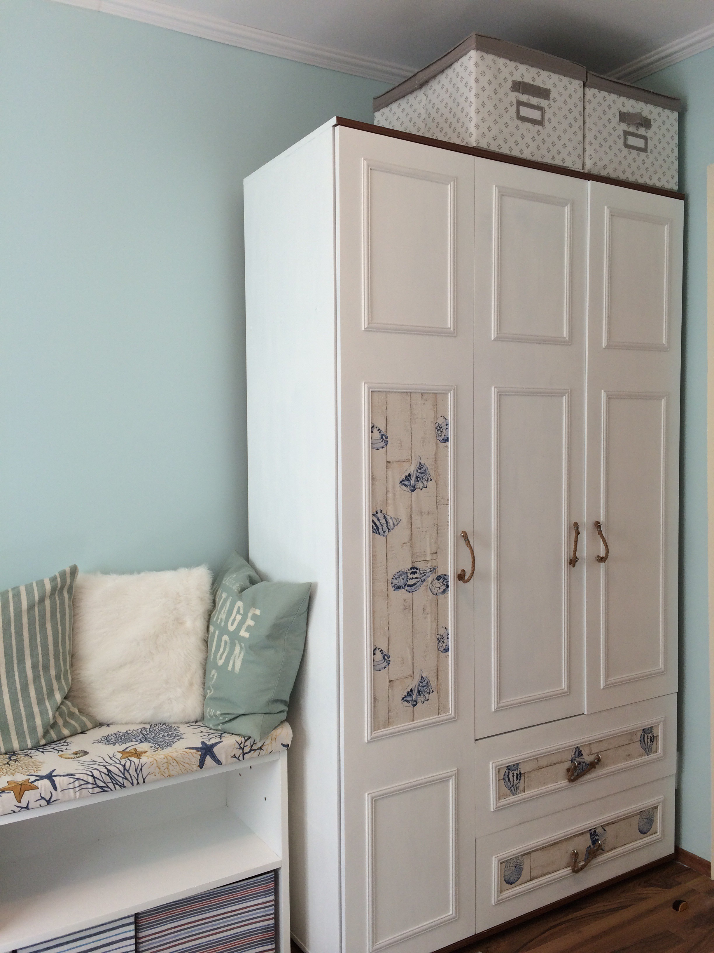 7 Redecorate your Cabinet with a nautical theme and new trim via Simphome 1
