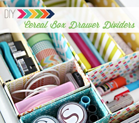 9 Cereal Box Drawer Dividers via Simphome