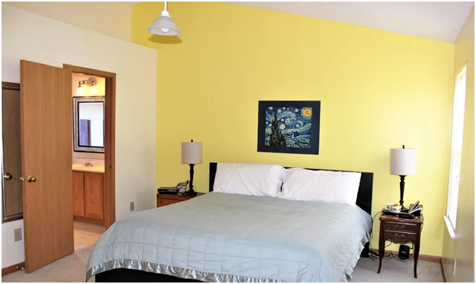 9 Vibrant Yellow Turns into a Tranquil Bedroom via Simphome before