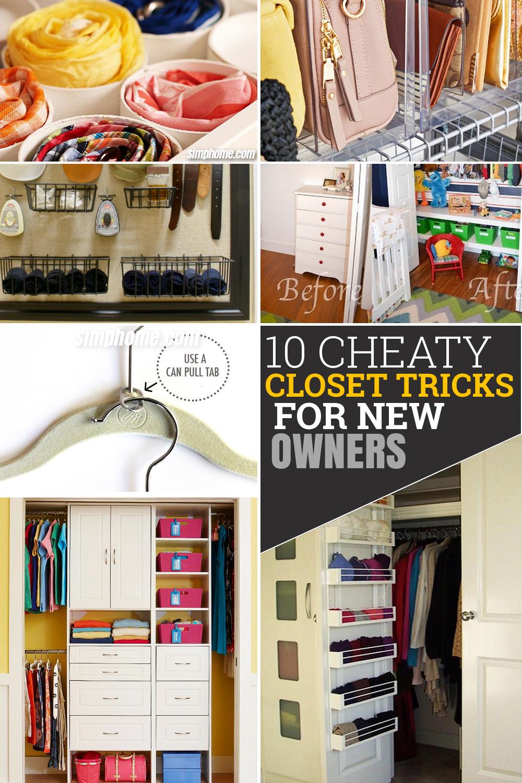 10 Cheaty Closet Tricks for a New Homeowner via Simphome.com Pinterest long image