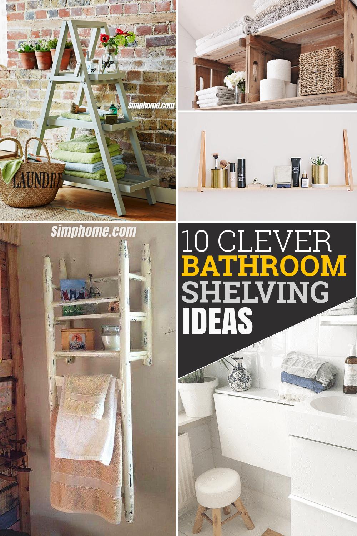 10 Clever Bathroom Shelving Ideas via Simphome.com Featured Image