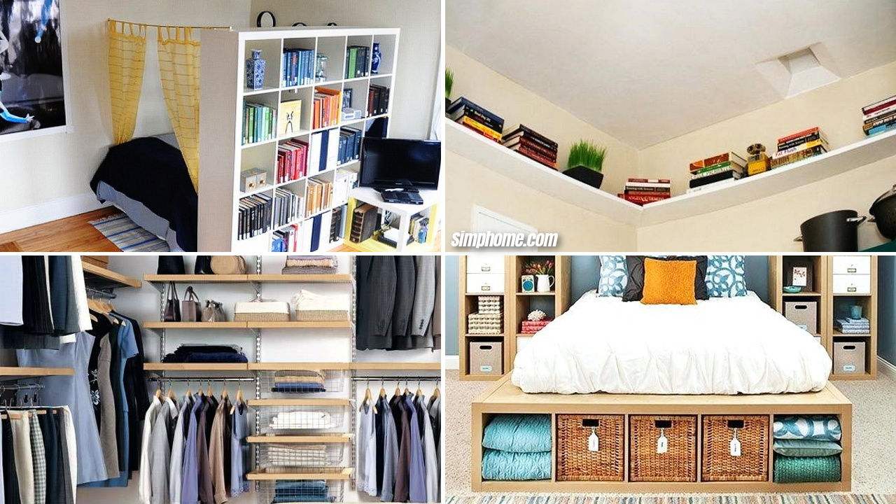 10 DIY Small Bedroom Storage Ideas via Simphome Featured image
