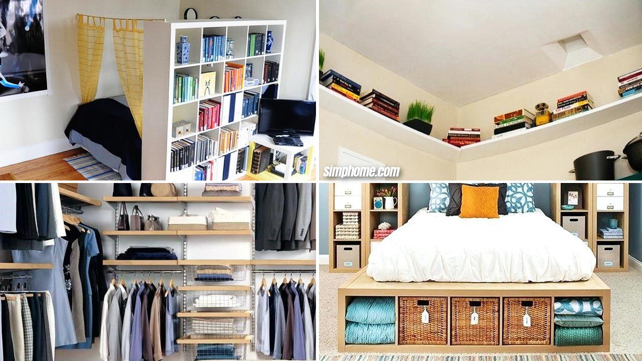 10 DIY Small Bedroom Storage Ideas via Simphome Featured image