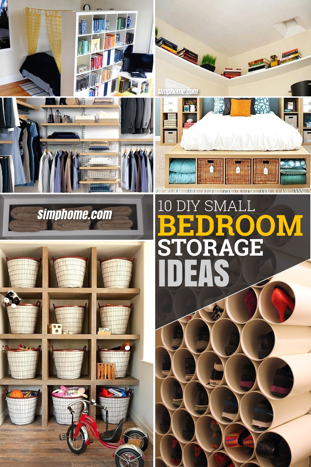 10 DIY Small Bedroom Storage Ideas via Simphome.com Pinterest Featured image