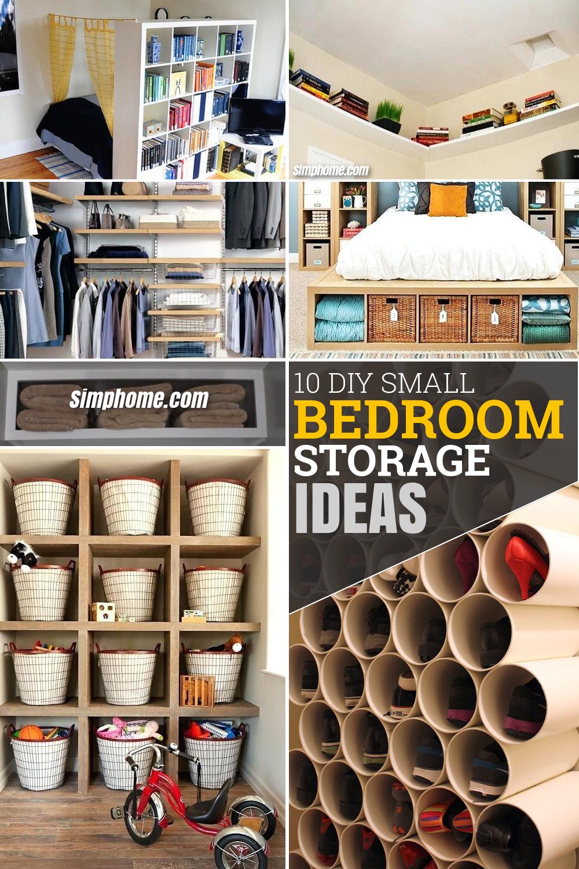 10 DIY Small Bedroom Storage Ideas via Simphome.com Pinterest Featured image