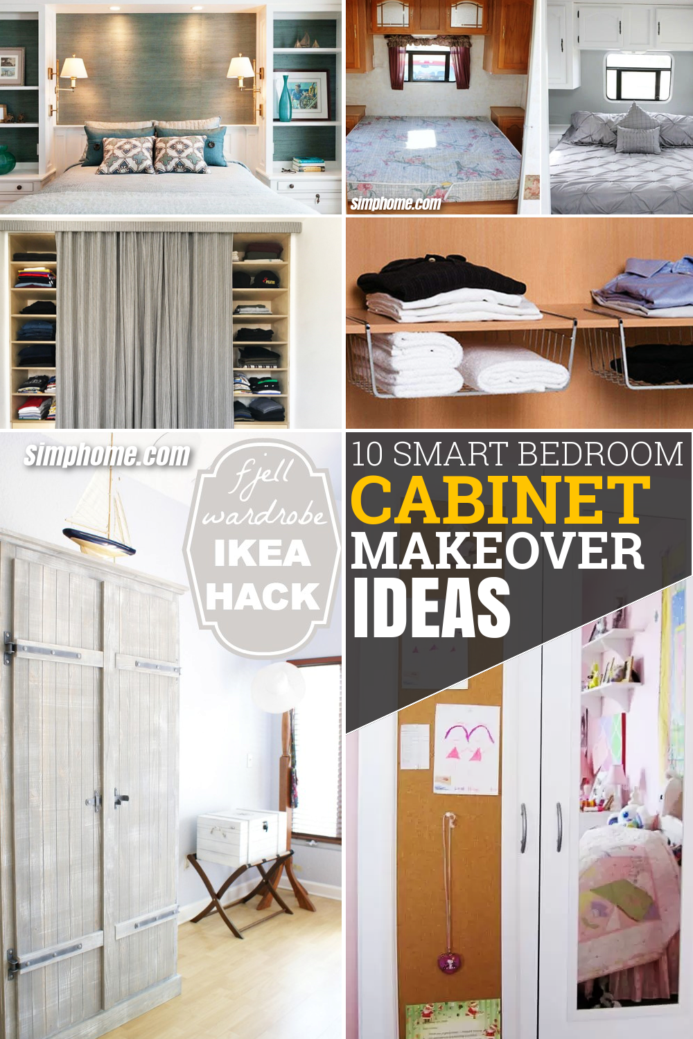 10 Smart Bedroom Cabinet Makeover Ideas via Simphome.com Featured Pinterest image