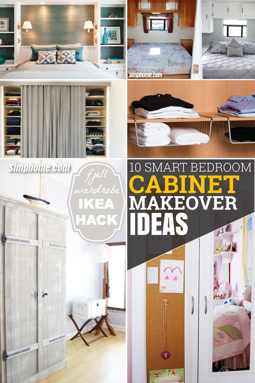 10 Smart Bedroom Cabinet Makeover Ideas via Simphome.com Featured Pinterest image