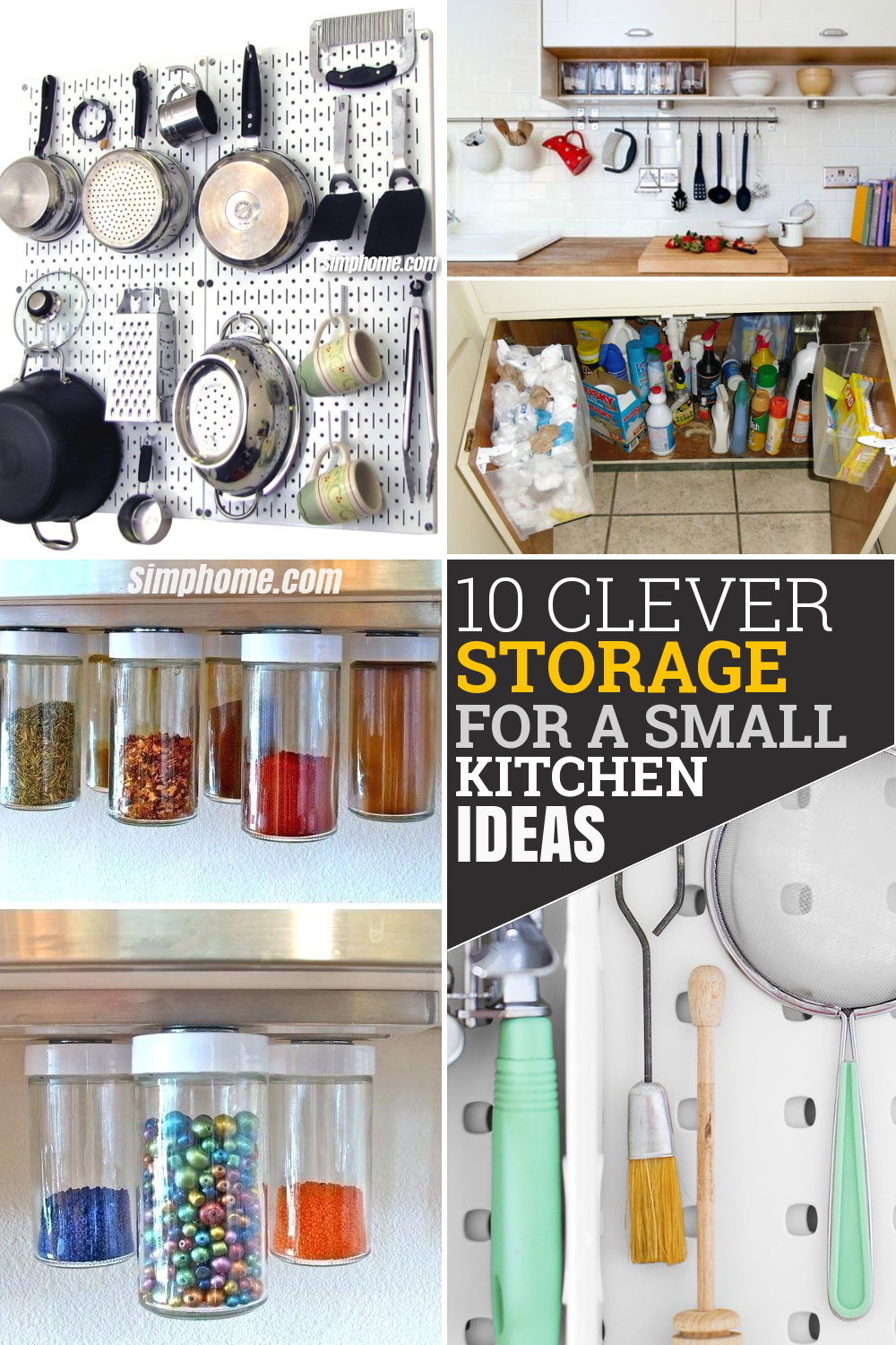 10 clever storage for a small kitchen idea via Simphome Pinterest image