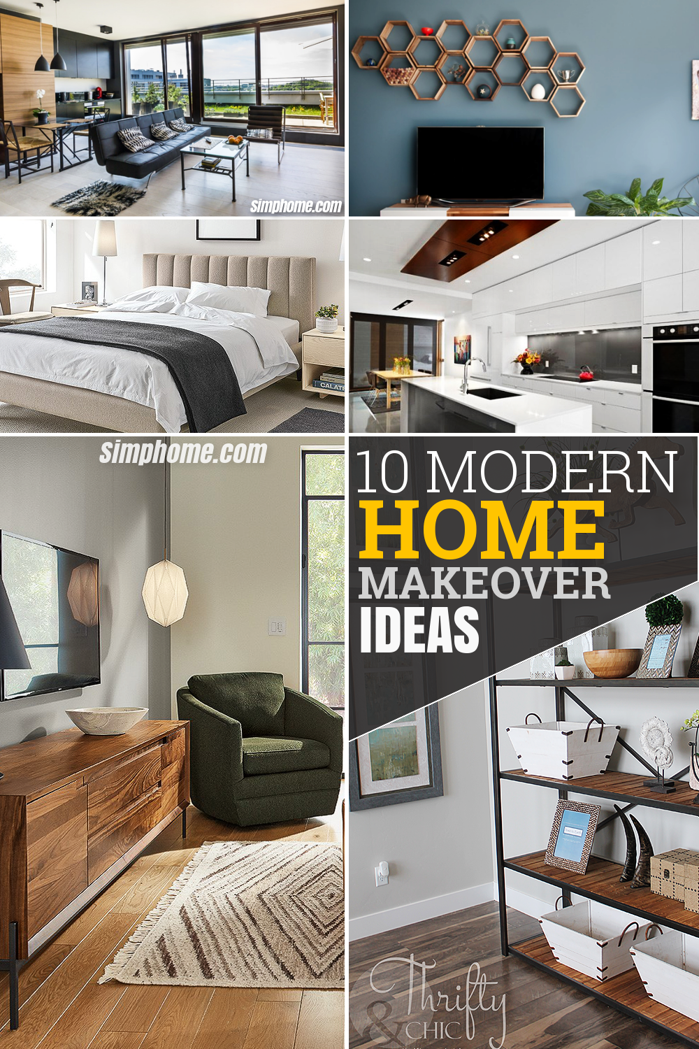 10 modern home makeover ideas by SIMPHOME.COM Pintrerest long image