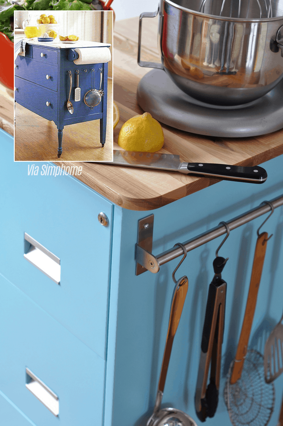 10.Turn an Old Dresser into a Kitchen Island via Simphome.com