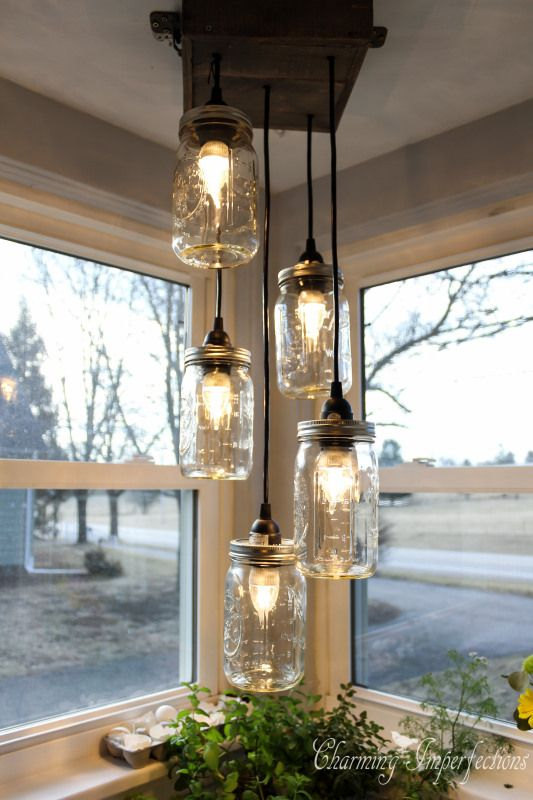 9. Mason Jars Chandeliers via Simphome
