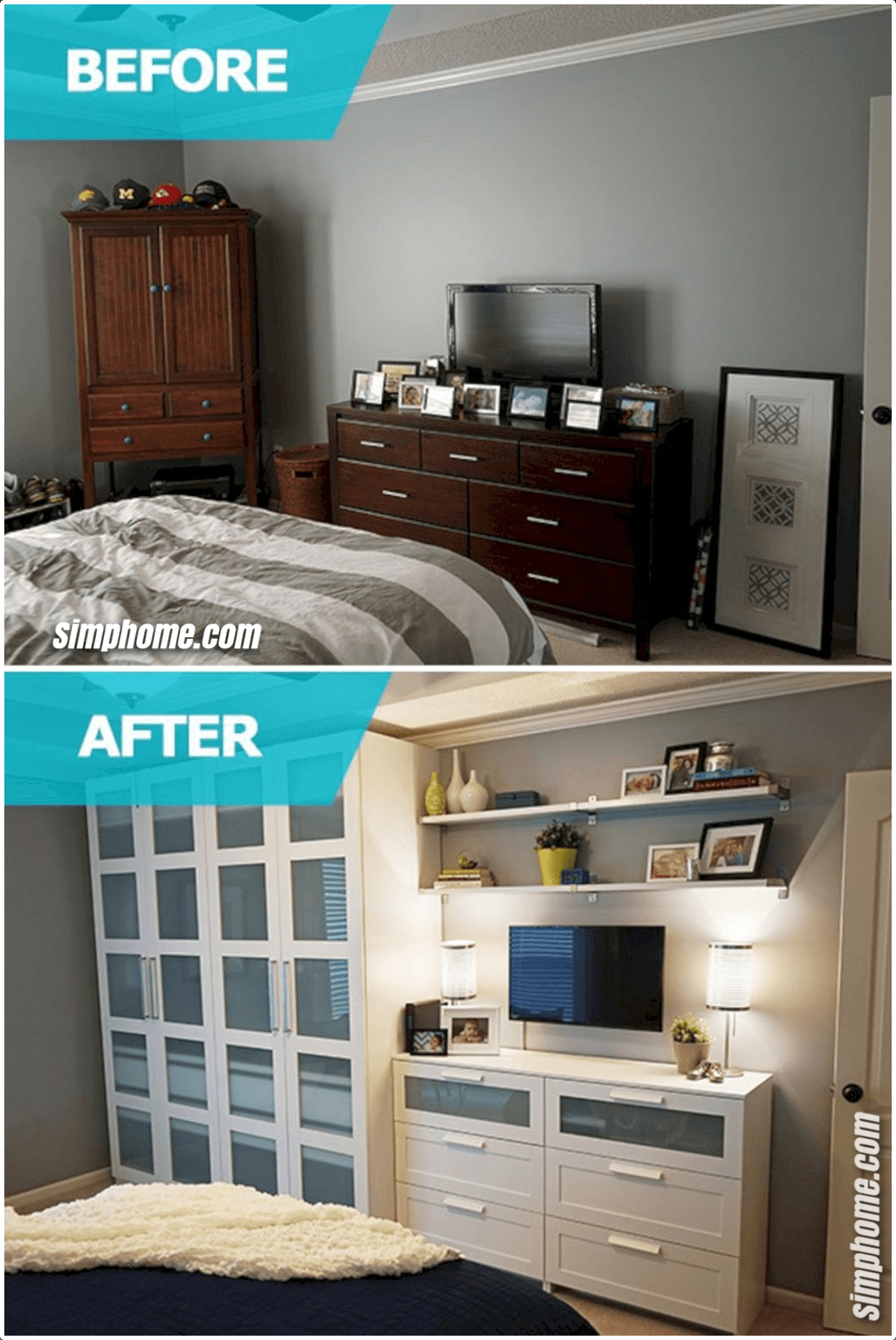 Simphome.com the best bedroom storage ideas for small room spaces